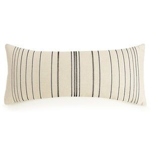 Ayesha Curry Embroidered Stripe Linen Throw Pillow